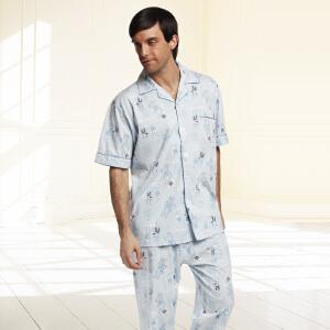 金丰田男士睡衣夏款 男士时尚休闲亲子装短袖家居服套装1537