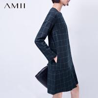 【AMII超级大牌日】[极简主义]2016冬新品圆领英伦风格子直筒长袖连衣裙11581381
