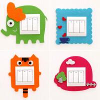 韩国可爱卡通毛毡镂空开关套 创意墙贴不伤墙免粘开关套
