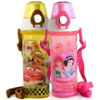 迪士尼 背带学生塑料杯 500ML直饮杯儿童运动水壶 4233 只有蓝米奇 粉公主 黄车