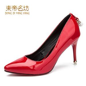 东帝名坊新款漆皮高跟鞋 优雅细跟气质浅口职业OL女鞋