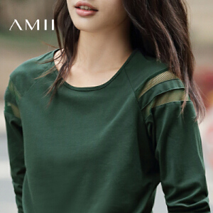 【AMII超级大牌日】[极简主义]2017新款秋装透视拼接纯色修身圆领修身长袖T恤女