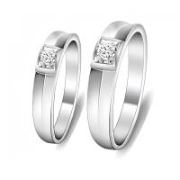 梦克拉 钻石对戒 方圆情 PT950戒指  铂金对戒 结婚戒指 创意礼品