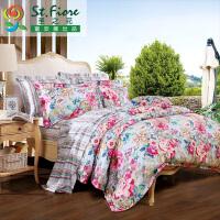 [当当自营]富安娜家纺纯棉四件套1.5米1.8米床印花套件 床单四件\时鸣春涧 紫色 1.8m