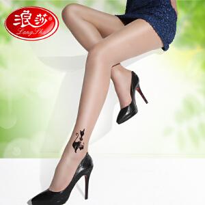 夏季新款浪莎丝袜 假刺青日系纹身袜连裤丝袜 女士超薄丝袜时尚提花袜 打底裤