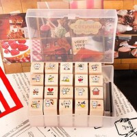 韩国 petitcochonn可爱小猪猪DIY日记装饰印章 塑料盒20枚入 1盒装