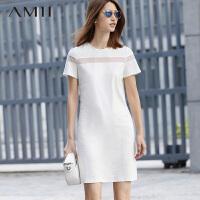 【AMII超级大牌日】[极简主义]2016夏透视网纱拼接大码T恤连衣裙女短袖修身裙子