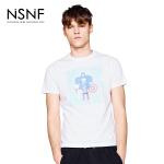 NSNF纯棉手绘抽象人物白色短袖T恤 2017年春夏新款