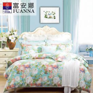 [当当自营]富安娜家纺纯棉四件套1.5米1.8米床印花套件 晨园幽香 蓝色 1.5m