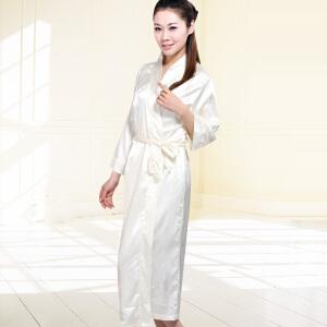 金丰田女士仿真丝睡裙 中长款纯色丝质家居服睡裙1128