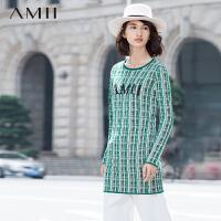 【AMII超级大牌日】[极简主义]2016冬民族风花色格纹长袖大码针织连衣裙11581748
