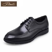宾度男鞋新品商务休闲鞋圆头平底鞋子男耐磨英伦男士皮鞋