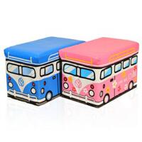 博纳屋 公交车皮收纳凳 大号有盖多功能储物凳 儿童玩具收纳箱 蓝白-大号B36-28 50*30*35