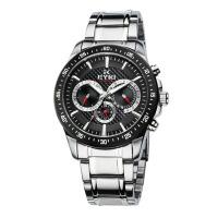 2017年新款 EYKI艾奇 韩版多功能男士手表 全不锈钢 日历星期三眼钢带表 8605