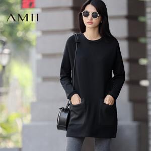 【AMII超级大牌日】[极简主义] 2017年春新品宽松纯色圆领落肩拉链贴袋T恤11673197