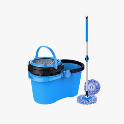 当当优品 可拆卸不锈钢脱水篮双驱动旋转拖把 蓝黑(赠两个拖把头)当当自营 桶身分离 内置洗涤盘 易于清洁 加厚款式 质量好