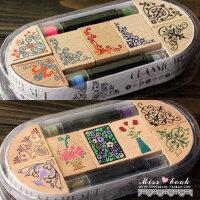 日照鑫 典边角花边套装 韩国文具可爱印章组 7枚印章+2印泥笔 1盒装
