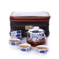 尚帝茶具 红茶耐热玻璃企鹅青花藤8件套组150701-08DYPG