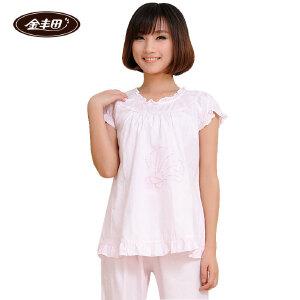 金丰田女士棉质短袖睡衣 夏季棉质无袖家居服套装1117