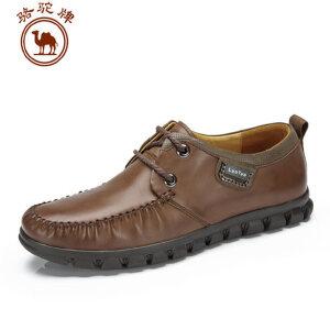 骆驼牌男鞋 头层牛皮商务休闲皮鞋 纯色系带鞋