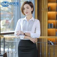 职业衬衫工作服面试通勤OL气质女装大码系带长袖衬衫修身显瘦春秋装