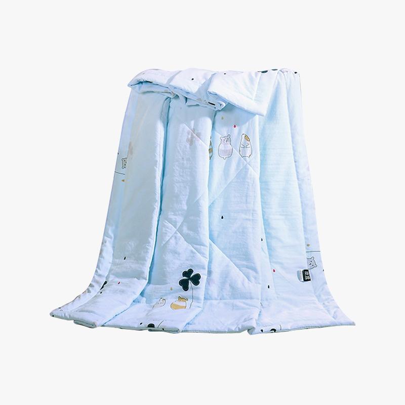 当当优品家纺 水洗棉裸睡夏凉被 150x200双人空调被 甜蜜(蓝)当当自营 柔软舒适水洗棉 水洗机洗不变形
