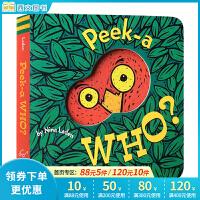 Peek-A-Who? 猜猜我是谁 美国受家长和宝宝欢迎的幼儿玩具书 儿童英文原版绘本 纸板书 宝宝的*本躲猫猫视觉游戏书