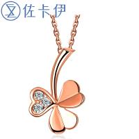 佐卡伊玫瑰18K金钻石吊坠简约时尚钻石项链项坠送女友珠宝