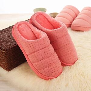 当当优品  秋冬季情侣半包跟防滑厚底居家保暖棉拖鞋女款 西瓜红250(适合34-35码)XY3660