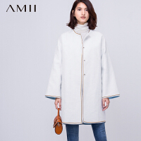 【AMII超级大牌日】[极简主义]2016秋冬新宽松大码复合撞色落肩袖外套女11581597