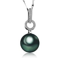 梦克拉  白18K金黑珍珠吊坠 倾心情扣 女款海水珍珠 项链吊坠 创意礼品 中国风