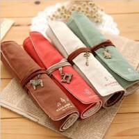 韩国可爱文具盒 清新可爱蕾丝边 卷卷韩国大容量笔袋 帆布笔帘 优雅化妆 创意笔袋