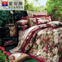 [当当自营]富安娜家纺纯棉四件套1.5米1.8米床印花套件 塞纳舞曲 红色 1.5m