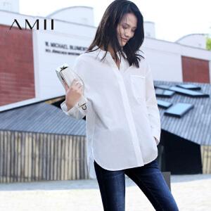 【AMII超级大牌日】[极简主义]2017年春新纯色层次翻领贴袋暗襟直筒宽松大码衬衫女
