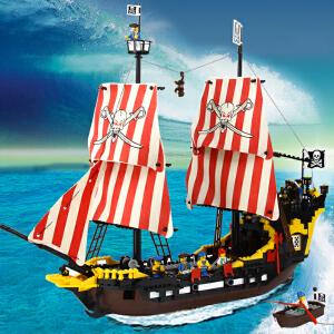橙爱 启蒙 乐高式拼装积木黑珍珠号海盗船 益智塑料拼插积木 儿童益智玩具 男孩儿童礼物