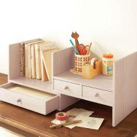 创意文具 可伸缩实木无漆小书架 办公桌收纳层架 宜家风格木艺简易桌上书柜书架 儿童桌面收纳