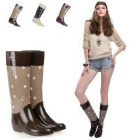 女士雨靴保暖雨鞋优质环保全橡胶女式印花时尚蝴蝶高筒雨靴
