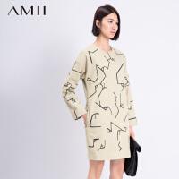 【AMII超级大牌日】[极简主义]2016冬不规则字母线条印花毛呢大码连衣裙11581867