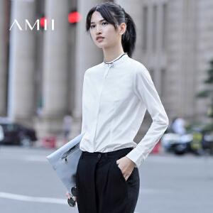 【AMII超级大牌日】[极简主义]2017年春新品直筒纯色立领印花暗扣长袖衬衫女