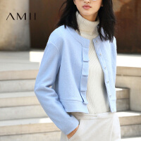 【AMII超级大牌日】[极简主义]2016冬季简约圆领修身短款毛呢外套大衣女11642126
