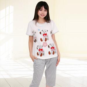 金丰田夏季女士针织可爱卡通熊家居服睡衣套装1379