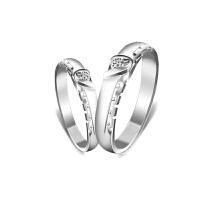 梦克拉 PT950铂金钻石对戒 为爱倾心 男女情侣对戒 创意礼品