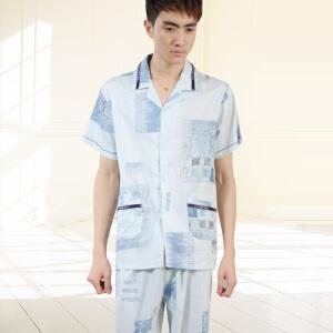 金丰田夏季男士纯棉睡衣套装1367