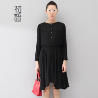 初语冬装新款 不规则下摆提花刺绣天蚕丝棉连衣裙女8432412048