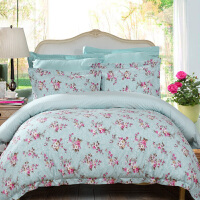 [当当自营]富安娜家纺 馨而乐全棉印花四件套纯棉床上用品4件套 明媚花都 1.5米床 蓝色