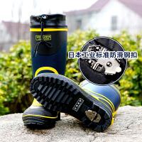 男士雨靴高端保暖高筒雨鞋男式钢扣防滑雪地雨靴钓鱼鞋防水保暖高筒雨鞋