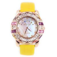 2017年新款  Melissa玛丽莎 绚彩 奥地利水晶 鳄鱼皮纹表带女士手表  迷人黄色