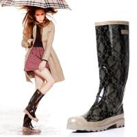 女式雨靴蕾丝纹女士雨鞋高筒雨靴水靴水鞋时装雨鞋