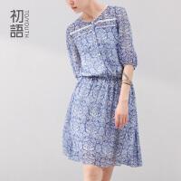 初语  冬装新款印花大裙摆松紧短袖雪纺连衣裙 女 8422422095