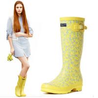 女士雨靴高筒水靴水鞋超萌橡皮鸭女式高筒雨鞋时装雨鞋